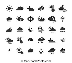 Weather solid icon set ,Vector Illustration.