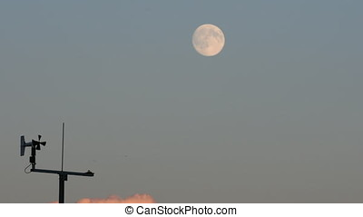 weather station during sunset with the moon in the background