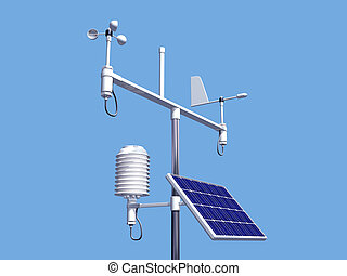 Illustration of various instruments on a weather station