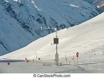 Weather station on snow slope. Ski resort  Obergurgl. Austria