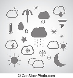 weather symbol set on gray background