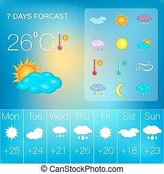 Weather symbols concept, cartoon style