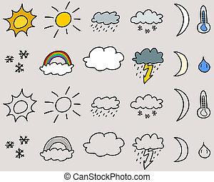 Weather symbols - Doodle icon set illustration - weather ...