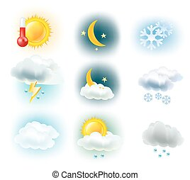 weather symbols. Sun, clouds, moon, rain, snow and thermometer icons. vector illustration