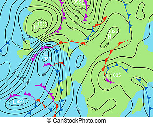 Editable vector illustration of a generic weather system map