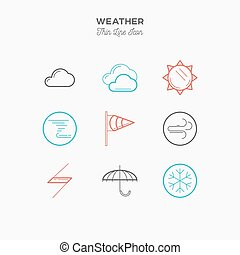 Weather, thin line color icons set, vector illustration