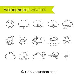 Weather thin line icons vector set