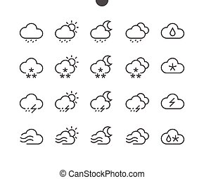 Weather UI Pixel Perfect Well-crafted Vector Thin Line Icons...