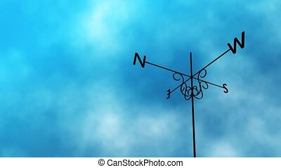 High definition animated loop of a weather vane blowing in the wind. As the clouds take a stormy turn midway through the vane switches direction completely.