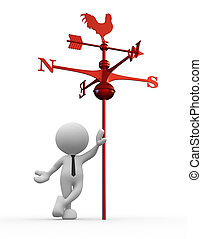 Weather vane - 3d people - man, person with weather vane