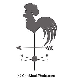 Weather vane. Gray rooster on a white background.