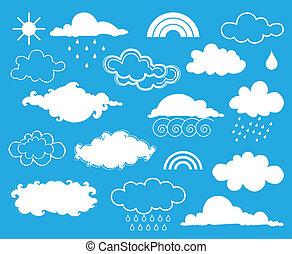 weather., vector, conjunto, elementos