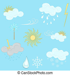 Weather vector design elements isolated on blue background.