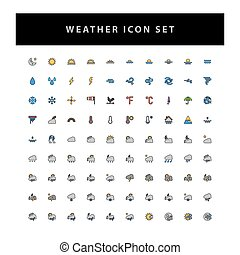 weather vector icon set with filled outline style design