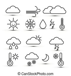 Weather Vector Icons Isolated on White Background