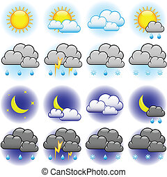 Weather vector icons set isolated on white background.