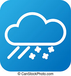 Weather web icon with cloud, snow and rain - Blue and white ...