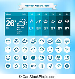 Weather widget template and set of weather icons
