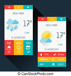 Weather widget in flat design style.