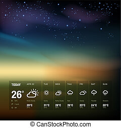 Weather widget template and sky background theme