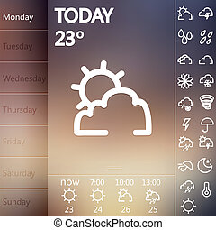 Weather Widget UI set . - Weather Widget UI set of beautiful...