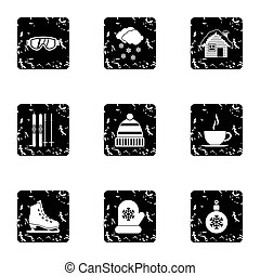 Weather winter icons set, grunge style