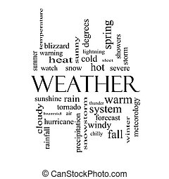 Weather Word Cloud Concept in black and white