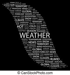WEATHER. Word cloud illustration. Tag cloud concept collage.