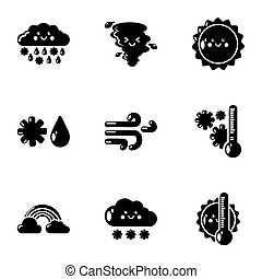 Weatherboard icons set. Simple set of 9 weatherboard icons for web isolated on white background