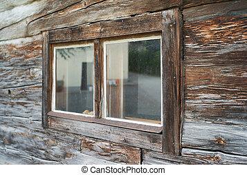 Weatherd Wooden Window