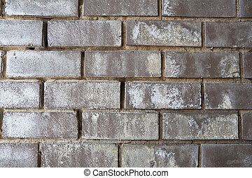 Weathered Black Brick Wall with White Mineral Deposits