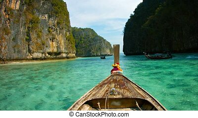Weathered Deck of a Wooden Boat and Clear Waters of Phi-Phi Island