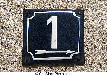 Weathered enameled plate number 1