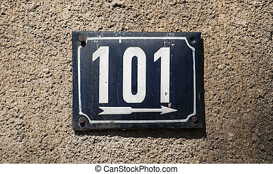 Weathered enameled plate number 101