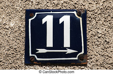 Weathered enameled plate number 11