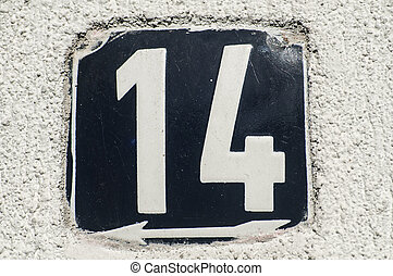 Weathered enameled plate number 14