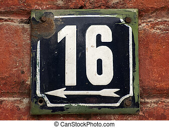 Weathered enameled plate number 16