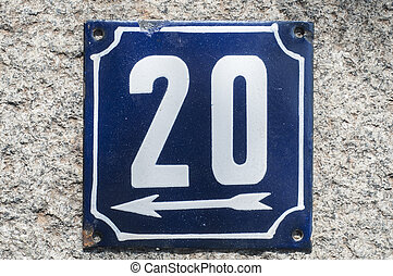 Weathered enameled plate number 20
