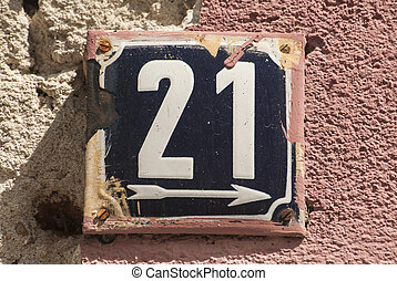 Weathered enameled plate number 21