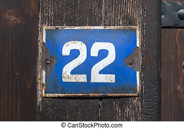 Weathered enameled plate number 22