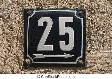 Weathered enameled plate number 25