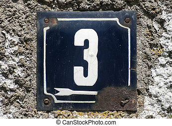 Weathered enameled plate number 3