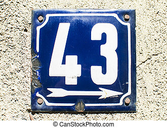 Weathered enameled plate number 43