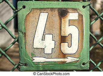 Weathered enameled plate number 45