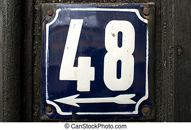Weathered enameled plate number 48