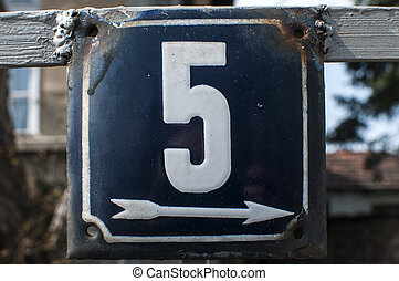 Weathered enameled plate number 5