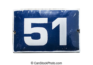 Weathered enameled plate number 51