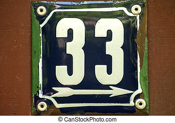 Weathered enameled plate number 53