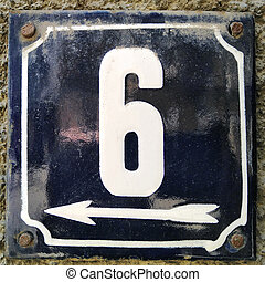Weathered enameled plate number 6