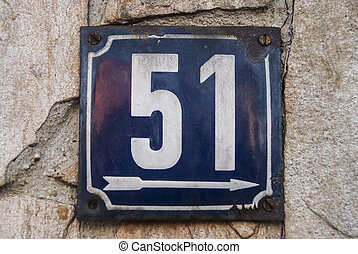 Weathered enamelled plate number 51